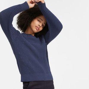 Everlane The Texture Cotton Crewneck Sweater Navy